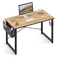 مكتب كتابة الكمبيوتر من أودك 78.74 سم، طاولة مكتب منزلي قوي، مكتب عمل مع حقيبة تخزين وخطاف سماعة رأس، خشب الجوز