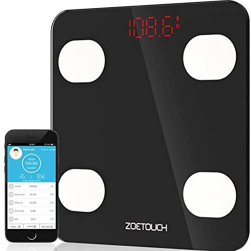 ZOETOUCH Escala de Grasa Corporal Bluetooth Inteligente Analizador de Composición Corporal Monitor de Salud de la Aptitud La balanza digital ZOETOUCH está diseñada para aquellos que desean controlar su salud y mantenerse saludables. Basado en tecnolo...