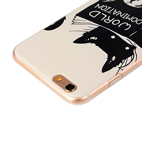 Custodia Cover per iPhone 6 Plus, Cover Silicone Morbido Trasparente Protective Case TPU Gel Ultra Sottile Cassa Protettiva Design per iPhone 6 Plus - Gatto Carino Gatto carino