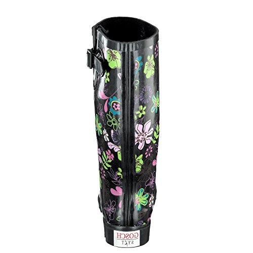 GOSCH SHOES SYLT Donna Langschaft Stivali di gomma 7109-501-9 nero, Flower Power Nero