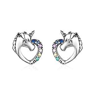 MengCat Einhorn Ohrringe für Mädchen, Herzform 925er Sterling Silber Regenbogen Zirkonia Ohrstecker Schmuck Geschenk für Ihr, Frau, Mädchen