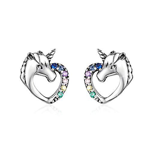 MengCat Einhorn Ohrringe für Mädchen, Herzform 925er Sterling Silber Regenbogen Zirkonia...