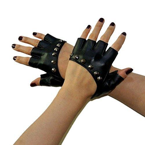 TININNA Winter Punk Gothic Nieten Pu-leder Fingerlose Handschuhe Nietenhandschuhe Damen