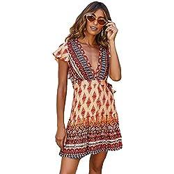 4f86171438 SEMIR Mujeres Sexy Cuello en V Boho Estampado Floral Mini Vestido Casual  Vintage Summer Beach Wrap