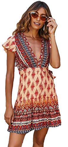 Damen Vintage Kleider Boho Sommerkleid V-Ausschnitt A-Linie Minikleid Swing Strandkleid mit Gürtel Orange S - Orange Kleid Sommerkleid