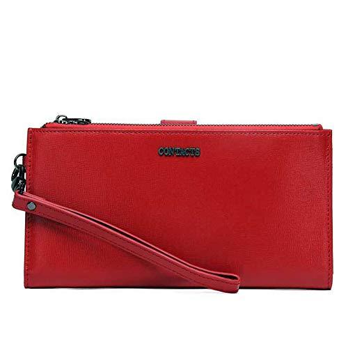 Yehyep Leder Clutch Bag, Womens Multi-Funktions-Doppel-Reißverschluss Lange Brieftasche, Wrist Strap Buckle Handtasche Compact Card Holder mit Reißverschlusstasche und Photo Slot, rot -