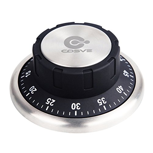 COSVE Zeitmesser, Küchentimer Mechanischer, Magnetischer Rückseite Kurzzeitmesser, 304 Edelstahl Zeitschaltuhr, Küche Kurzzeitwecker Schwarz