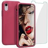 JASBON Coque pour iPhone XR, Coque Silicone Liquide avec Protecteur d'écran Gratuit,...