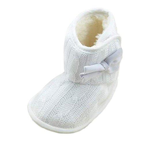 WOCACHI Baby-Bowknot weiche Sohle Winter warme Schuhe Stiefel Krabbelschuhe Schuhe (11cm, Weiß)