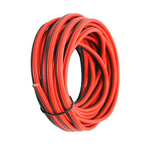 16 AWG Silikon Elektrokabel 20 Meter [Schwarz 10 m Rot 10 m] 2 Leiter Parallele Drahtleitung Weiche und flexible 1,3 mm²-Haken Sauerstofffreie Litzen Verzinnter Kupferdraht TUOFENG (2-leiter 16-gauge)