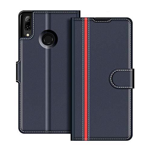 Capa de Couro COODIO Honra 10 Lite, Capa Inteligente 2019 para Huawei P, Capa Carteira Capa Magnética para Honor 10 Lite / P Smart 2019, Azul Escuro / Vermelho