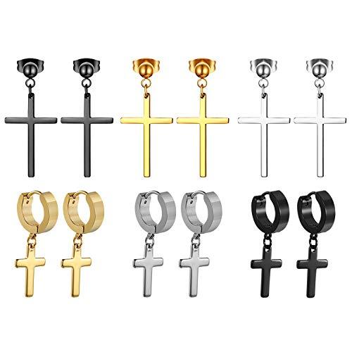 Cupimatch 6 Paare Set Kreuz Ohrringe Unisex Perlen Ohrstecker mit Anhänger Piercing Ohr Schmuck, Silber Gold Schwarz