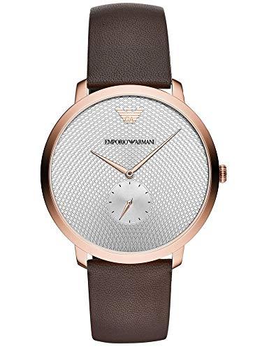 Emporio Armani Herren Analog Quarz Uhr mit Leder Armband AR11163