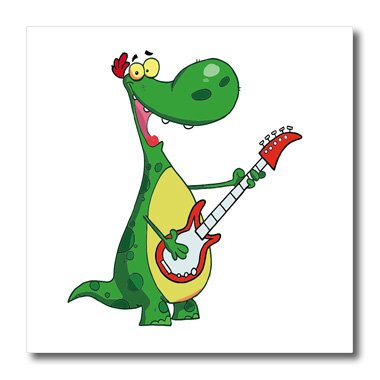 3dRose ht_118668_1 Funny Dinosaur Playing Guitar-Iron On Heat Transfer, 8 by 8