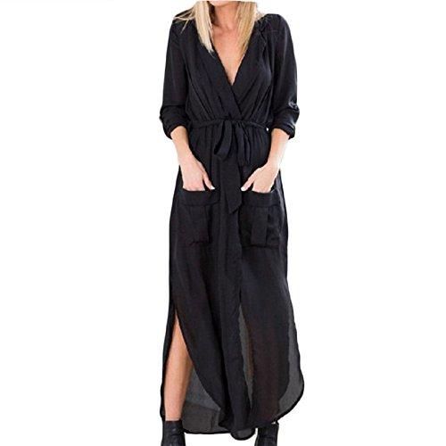 Druckkleider Frauen Ärmelloses Kleid Loose V-Ausschnitt Kleid Trägerloses Elegant Strandkleid Maxikleider Midikleid Schwarz