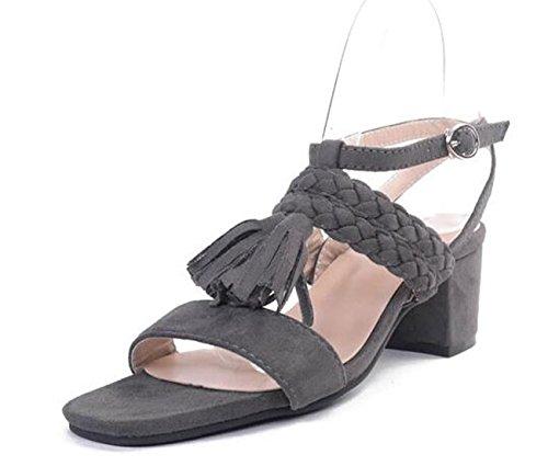 Beauqueen Tassels Femmes Chaussures Chunky Blk Fainage GRAY 35-40 Grey
