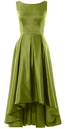 MACloth Elegant Bateau Neck High Low Cocktail Dress Wedding Party Formal Gown Olive Green