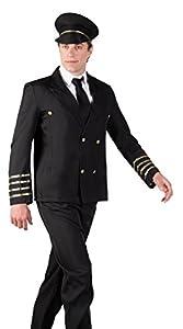 Boland 83584-Disfraz de piloto para Adulto, Color Negro