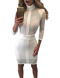 Reaso Femmes Robe , Sexy Bodycon Manche longue Col haut Hanche Forfait Perspective Soirée de club Cocktail Mini Robes