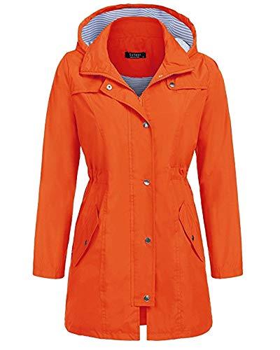 AnyuA Damen Windbreaker Ãœbergangsmantel mit Kapuze Regenmantel Orange S