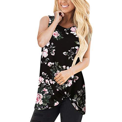 VWsiouev Ärmellose Blumendruck-beiläufige Sommer-T-Shirts der Frauen vorderer Knoten-Torsions-Tuniken übersteigt Blusen -