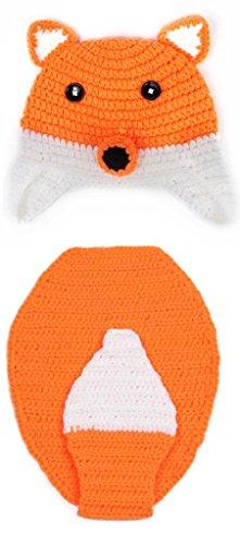 La vogue Orange Fochs Stricken Häkeln Baby Bodys Mütze Beanie Babykleidung Tiere Windel-Abdeckung für Kostüm /Fotografie