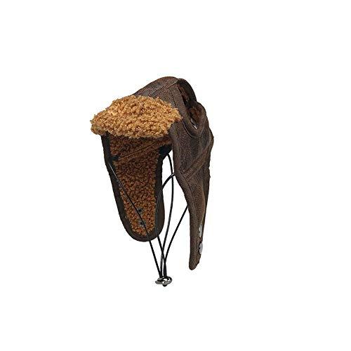 Fliegermütze Hundewinter-Pilot Hut mit Ohrenklappen Haustier-Partei-Kostüm-Zusatz Pu-Warmer Hut für kleine und mittlere Hunde (Kaffee, L) ()