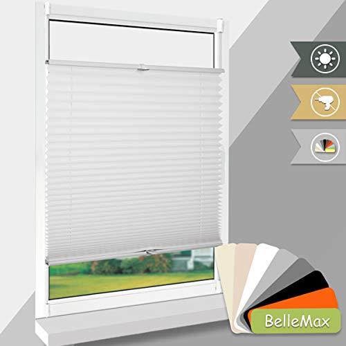 BelleMax Rollo plissee ohne Bohren Sonnen- und Sichtschutz EasyFix Jalousie inkl. Befestigungsmaterial weiß 60x200 cm