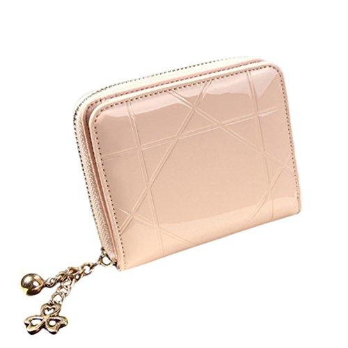 bolsos de las mujeres, FEITONG Señora mujeres del embrague del monedero de la carpeta del sostenedor corta la tarjeta del bolso Pequeño (Rosado)