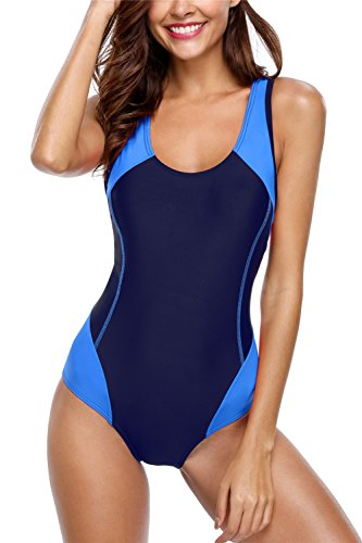 Alove Damen Ein Stück Sportlich Badeanzug Sport Bademode Wettbewerb Medium 10/12 UK/Medium Marine-Blau