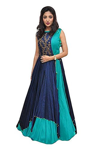 Aracruz Women\'s Clothing Ethnic Gowns For Party Wear Designer Light Blue Banglori Silk Embroidery Semi Stitched Gown with Jacket Free Size Salwar Suit Dress Material Lehenga Choli for Girls 18 Years