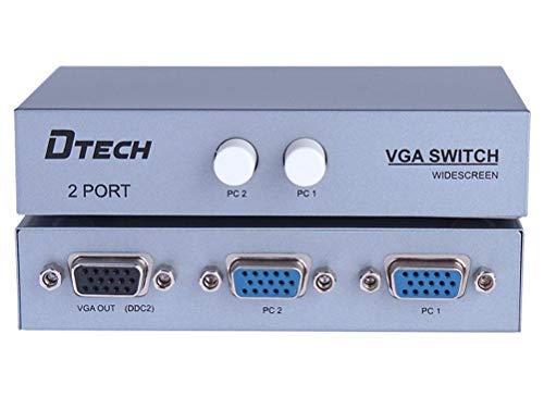 DTECH - Conmutador VGA 2 Puertos 2 PC Salida 1, Compatible