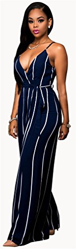 Manches col en V des femmes Stripe Bodycon larges Rompers Leg Party Clubwear Jumpsuit Comme on le voit sur la Fig.