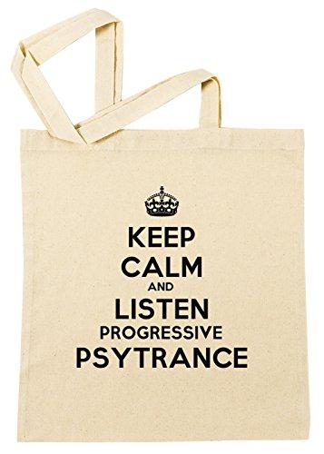 keep-calm-and-listen-progressive-psytrance-bolsa-de-compras-de-algodon-reutilizable-cotton-shopping-