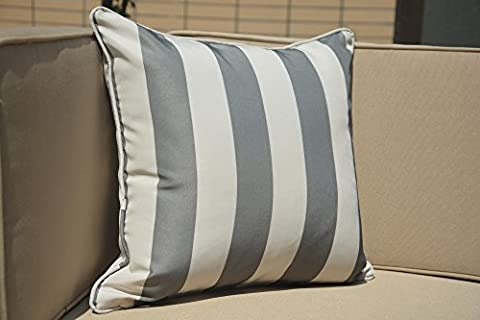 Direct Wicker Set of 2 45 x 45cm Waterproof Stripe Sofa Square Throw Pillow Cushion Case Covers for Garden Chairs and Benches- Grey White