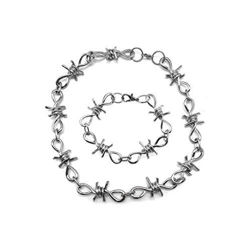 HEWT 1 Satz Herren Punk Gothic Alloy Stacheldraht Brambles Halskette Armband Schmuck Set