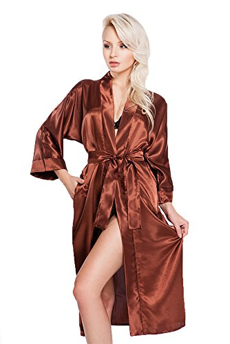 Edler Morgenmantel Kimono aus Satin lang Größen S-XXL (M, VA64/Schokolade) (Schokolade Kimono)