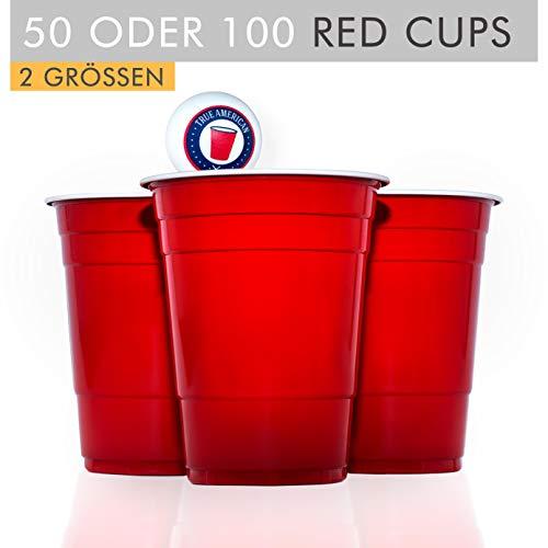 100 Original USA Red Cups + 6 Bälle + Spieleanleitung — Extra Starke Becher aus Amerika — Party Zubehör Bier Pong Set — Wiederverwendbare Rote Plastikbecher (16oz/473ml)