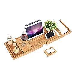 SONGMICS Badewannenablage aus Bambus, ausziehbar, verstellbares Badewannenbrett, Badewannen Ablagen, mit Getränkehalter, Buchstütze und Seifenhalter, (75-109) x 4,5 x 23 cm (B x H x T) BCB88Y
