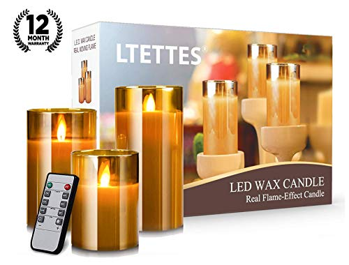 LTETTES Flameless LED Wax Candle Flickering Glass Material Real Wax Faux Wick Moving Flame Effect Faux with Timer Remote Controller (Set of 3)