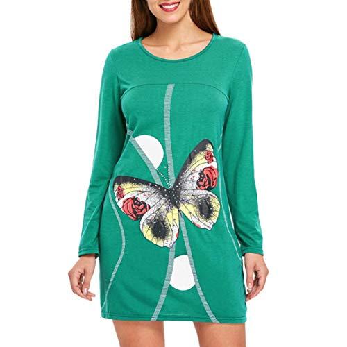 Kostüm Schmetterling Schöne Sexy - Rocke Womens Stretch Langarm Kleid Swing Dress Flared A Line Schmetterlinge Etuikleid (Color : Grün, Size : L)
