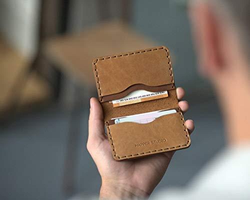 Personalisierte Geldbörse Portemonnaie, langlebige Aufbewahrung von Kreditkarten und Banknoten mit Prägung Gravur, Lederbrieftasche mit Wunschnamen -