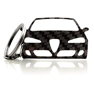 BlackStuff Carbon Fiber Keychain Keyring Ring Holder Compatible With Alfa Romeo 147 2005-2010 BS-780