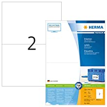 HERMA Self Adhesive Multi-Purpose Labels, 2 Labels Per A4 Sheet, 400 Labels For Laser And Inkjet Printers, Large, 210 x 148 mm (4628)