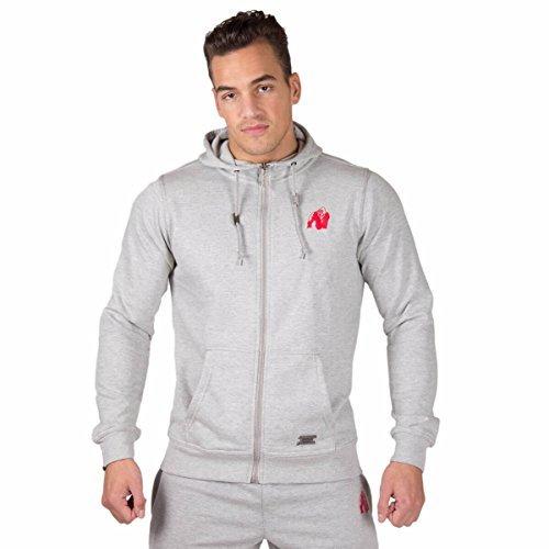 Gorilla Wear Classic Zipped Hoodie Bodybuilding und Fitness Jacke für Herren- Gr. 3XL, Grau