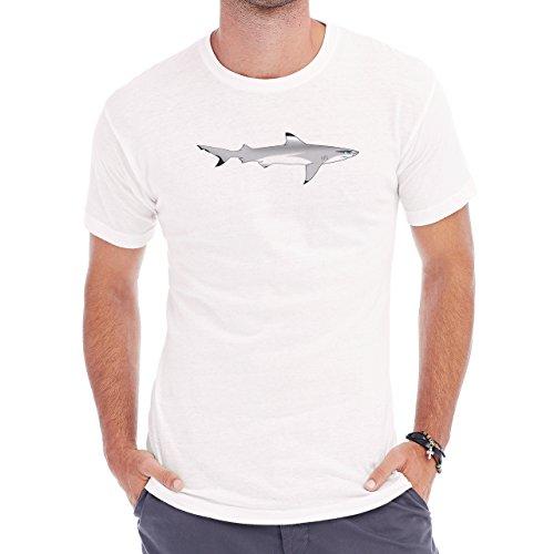Shark Sea Fish Predator Reak Digital Grey Herren T-Shirt Weiß