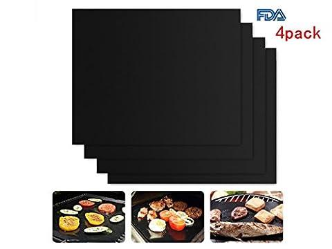 Barbecue Pad, antiadhésif et réutilisable pour barbecue grill Tapis–Très 59,9x 39,9cm, Noir Four-Packs