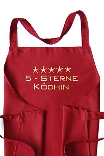 Schürze 5-Sterne-Köchin, hochwertig bestickt - Schürzenfarbe Cherry *** wunderbares Geschenk! <br> Küchenschürze ~~ Latzschürze ~~ Backschürze ~~ Kochschürze ~~ Arbeitsschürze ~~ Weihnachtsschürze