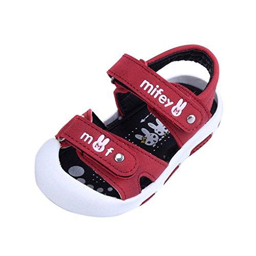 45ff61c7e8c28 Evedaily Bébé Garçon Fille Sandales Bout Fermé Chaussures Été PU Cuir  Velcro Semelle Antidérapante -Vin