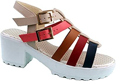 45923d2184a1 Karat Gold Women s Red Faux Fur Block Heeled Sandals -4 UK India (37